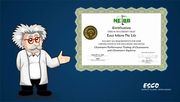 Esco certified by NEBB for Cleanroom Performance Testing