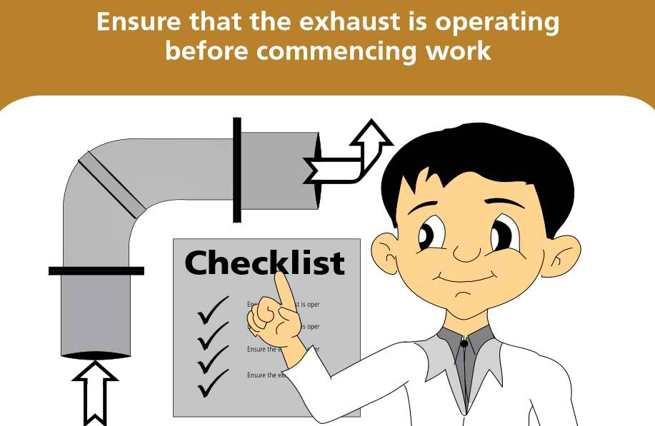 Ensure that the exhaust has been turned on before commencing work or else it would be futile having a fume hood. If the hood is fitted with an airflow monitor, check the monitor's status. Even while working, be alert to changes in airflow.