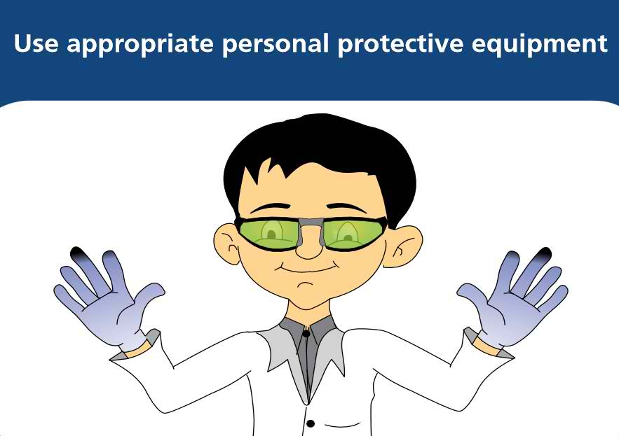 2. Use appropriate personal protective equipment such as gloves, goggles and laboratory gown. This enhances work safety in case of catastrophic spills, run-away reactions or fire.