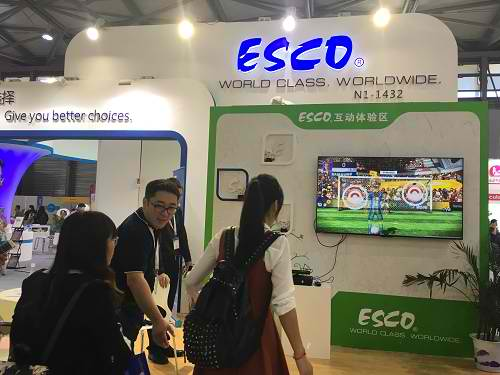 Visitor performing Somatosensory Game at Esco Booth during Analytica China 2016